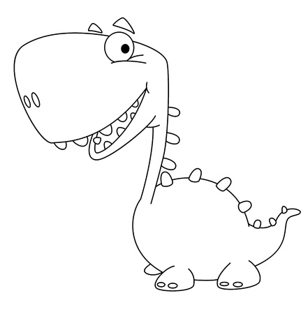 illustration of a dino cartoon cute outlined