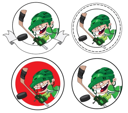 ice hockey player: illustration of a boy hockey banner Illustration