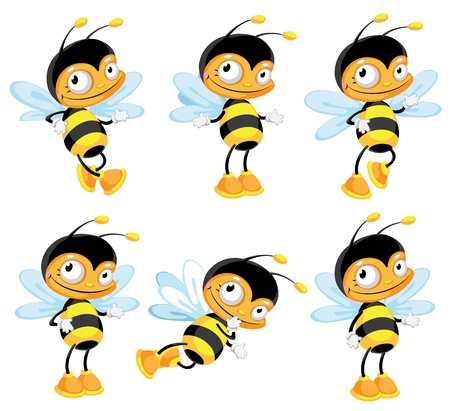 illustration of a set funny bee