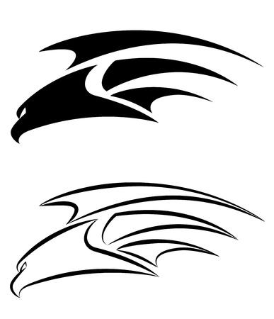 falcons: illustration of a hawk set