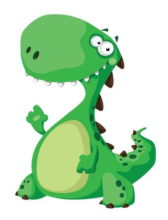 dinosauro: illustrazione di un dinosauro verde Vettoriali