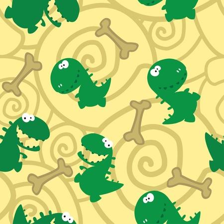 dinosaurio caricatura: ilustración de una dinosaurios sin costura y los huesos