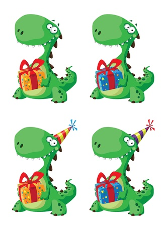 illustration of a cute dinosaur with a gift set Vector