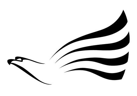 wings logos: illustration of a big hawk Illustration