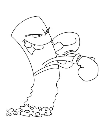 illustration of a cigarette boxer outlined