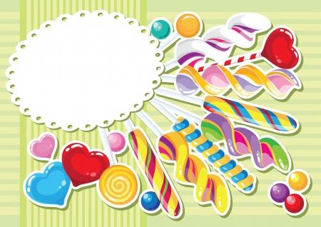 お菓子ステッカー背景のイラスト  イラスト・ベクター素材