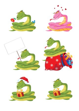 illustration of a funny girl snake set Vector