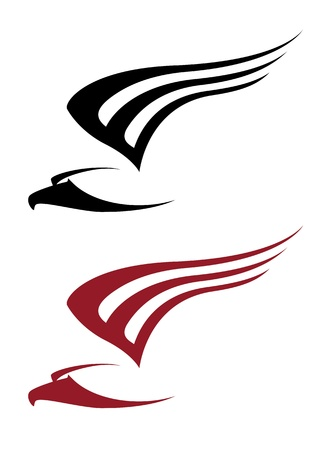 wings logos: illustration of a attacking hawk for tattoo design