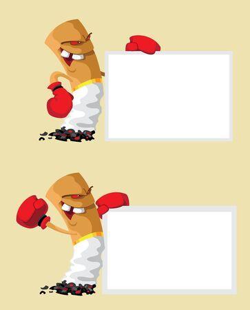 butt: illustration of a set cigarette boxer with blank Illustration