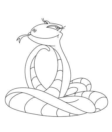 illustration of a cute snake outlined