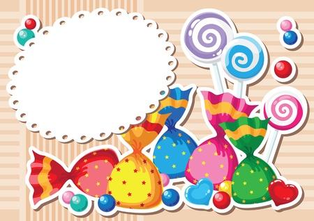 caramelos navidad: ilustraci�n de un fondo etiqueta caramelos
