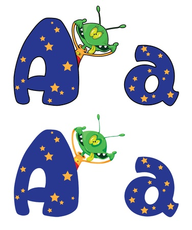 illustration of a letter A alien Vector