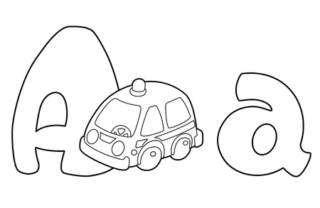 illustration of a letter A ambulance outlined Vector