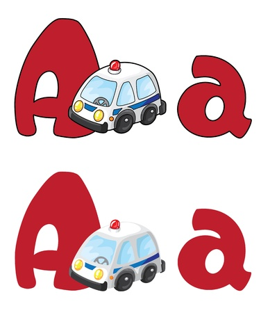 illustration of a letter A ambulance Vector