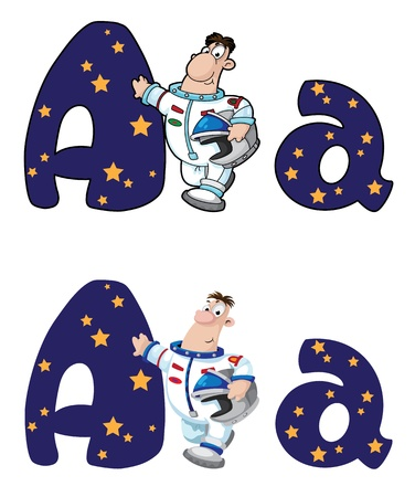 illustration of a letter A astronaut Vector