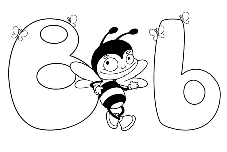 cartoon insect: illustration of a letter B bee outlined