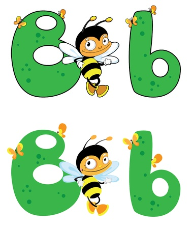 cartoon insect: illustration of a letter B bee Illustration