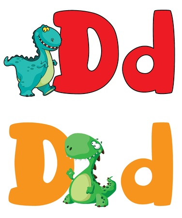 illustration of a letter D dinosaur Vector