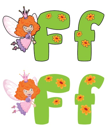 illustration of a letter F fairy Vector