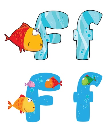 fish type: illustration of a letter F fish