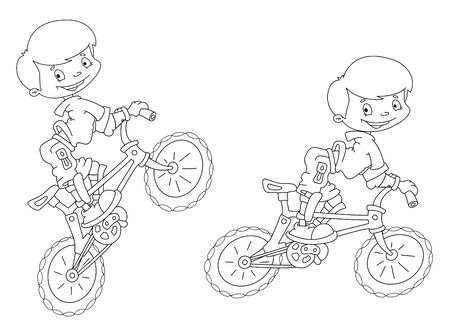 illustration of a bicyclist smile outlined Иллюстрация