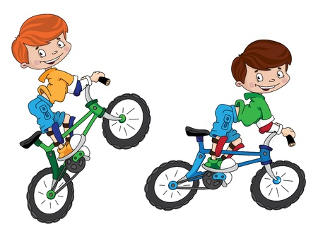 ni�os en bicicleta: ilustraci�n de una sonrisa ciclista