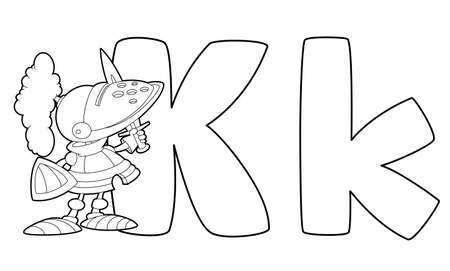 illustration of a letter K knight outlined Vector