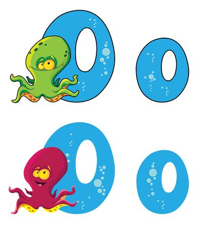 illustration of a letter O octopus Vector