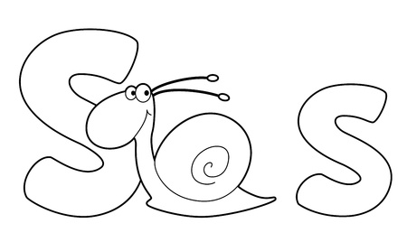 illustration of a letter S snail outlined Vector