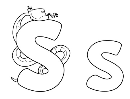 illustration of a letter S snake outlined Vector