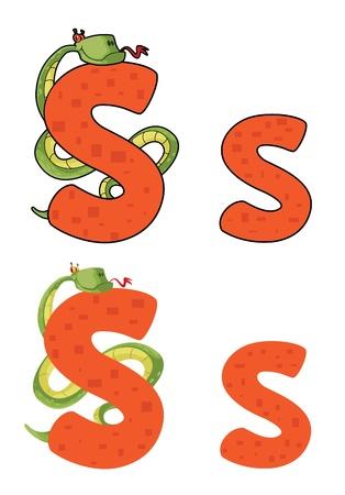 serpent: illustration of a letter S snake