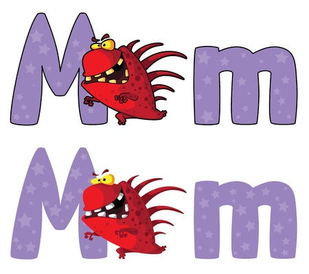 illustration of a letter M monster Vector
