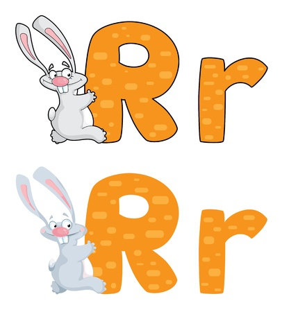 illustration of a letter R rabbit Vector