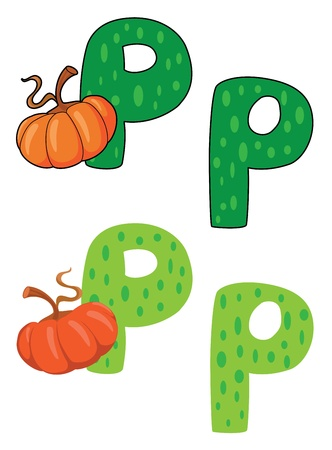 illustration of a letter P pumpkin Vector