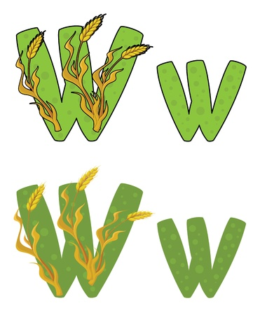 illustration of a letter W wheat Illustration