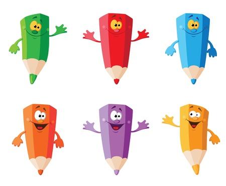 illustration of a set color pencils Illustration