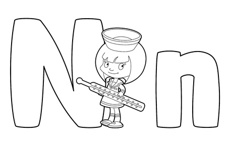 Illustration Of A Letter N Nurse Outlined Royalty Free Cliparts