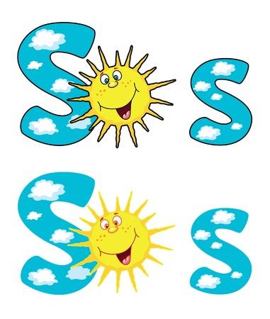 sun s: illustrazione del sole una lettera S Vettoriali