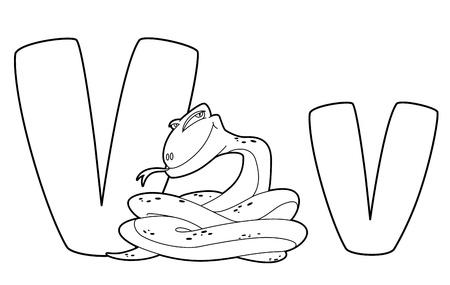 illustration of a letter V viper outlined Stock Vector - 15167360