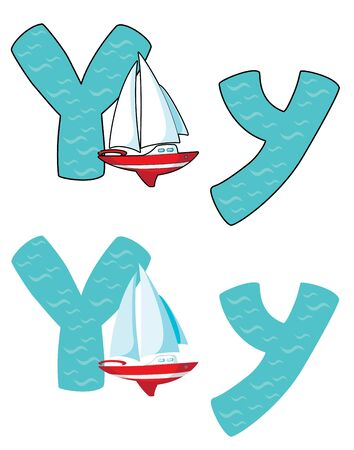 illustration of a letter Y yacht Vector