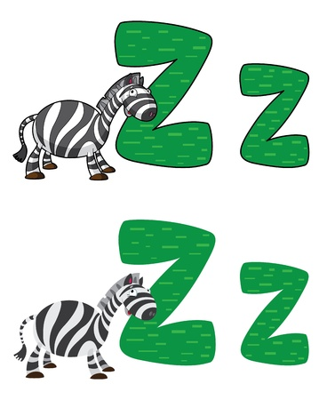 illustration of a letter Z zebra Vector