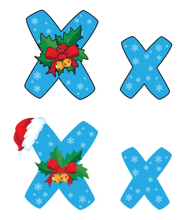illustration of a letter X Xmas Vector