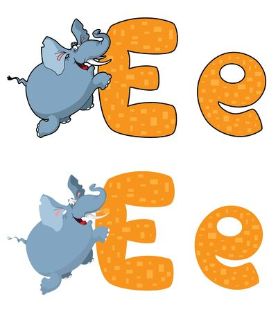 illustration of a letter E elephant Vector