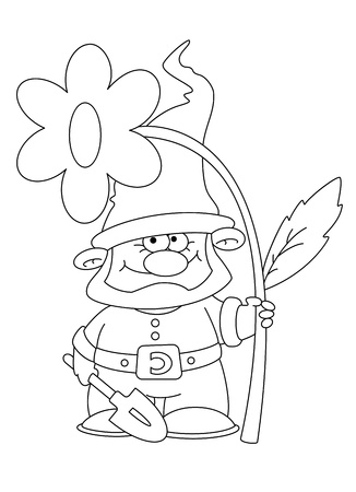 gnome: illustration of a gnome and flower outlined