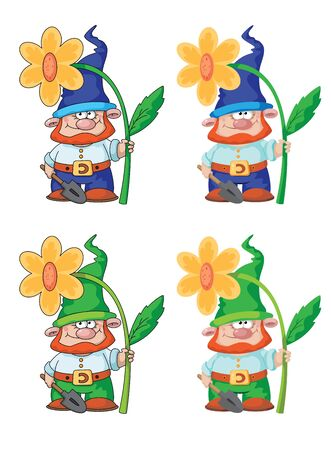 gnome: illustration of a gnome and flower