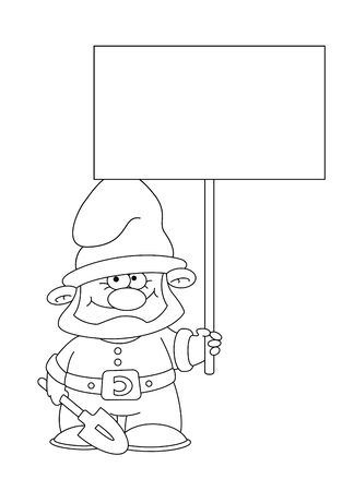 illustration of a gnome with blank sign outlined Stock Vector - 16181831