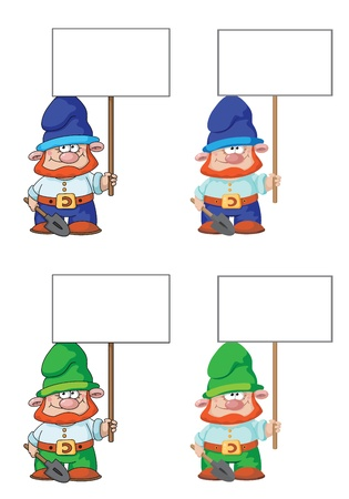 illustration of a gnome with blank sign Stock Vector - 16181833