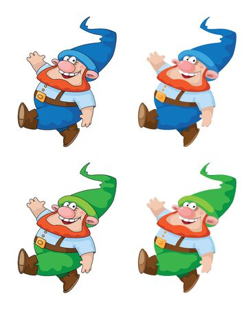 dwarves: illustration of a walking gnome. File is loaded again with corrections. Illustration