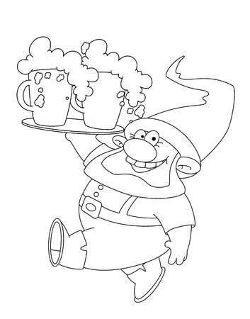 gnome: illustration of a walking gnome with beer outlined Illustration