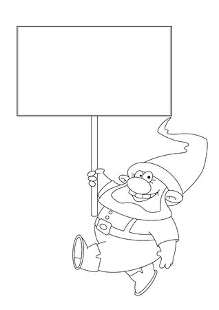 illustration of a gnome with blank sign outlined Stock Vector - 16181834